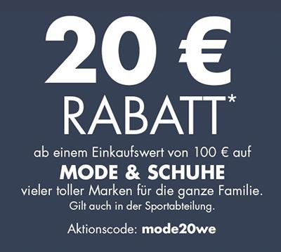 20,- Euro Rabatt auf Mode, Wäsche & Schuhe im Galeria Kaufhof Onlineshop (MBW: 100,- Euro)