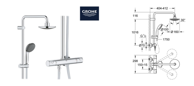 grohe vitalio start duschsystem 160 27960000 f r 208 90. Black Bedroom Furniture Sets. Home Design Ideas