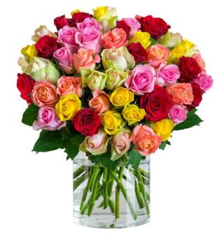 Blumenstrauß Rainbow Roses mit 44 bunten Rosen für 24,98 Euro inkl. Lieferung