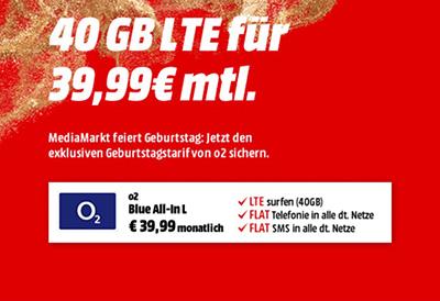 o2 Blue All-In L mit 40GB Daten für mtl. 39,99 Euro + Samsung Galaxy S10 für einmalig 49,- Euro