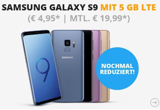 o2 Blue All-in M 5 GB für nur 19,99 Euro monatlich + Samsung Galaxy S9 für einmalig 4,95 Euro