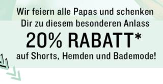 20% Rabatt auf Shorts, Hemden und Bademode zum Vatertag im Tom Tailor Onlineshop
