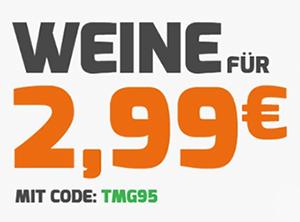 Weinvorteil Hammer Angebot mit verschiedenen Weinen für nur 2,99 Euro pro Flasche (MBW: 12 Flaschen)