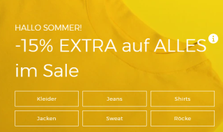 15% Extrarabatt auf Sale Angebote bei ABOUT YOU