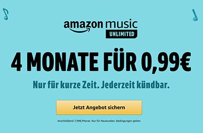 Letzter Tag: 4 Monate Amazon Music für einmalig nur 99 Cent testen – jederzeit kündbar!