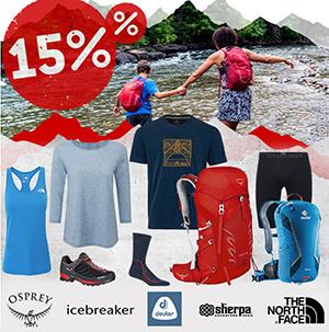 Bergfreunde Onlineshop: 15% Rabatt auf ausgewählte Marken – z.B. The North Face, icebreaker & mehr