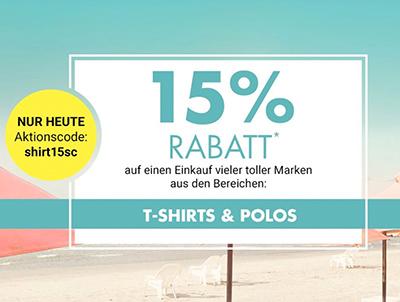 15% Rabatt auf T-Shirts und Poloshirts bei Galeria Kaufhof