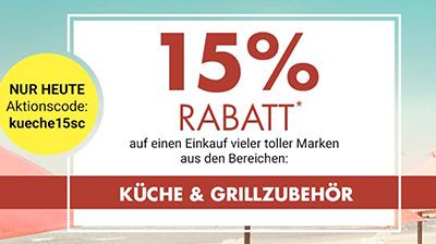 15% Rabatt auf Artikel aus den Kategorien Küche & Grillzubehör bei Galeria Kaufhof