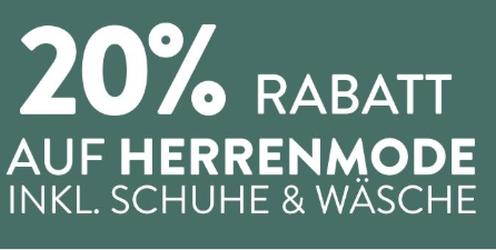 20% Rabatt auf Herrenmode bei Galeria Kaufhof