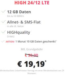 Telekom Allnet-Flat mit 12GB LTE für 19,19 Euro monatlich
