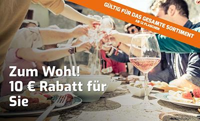 10,- Euro Extra-Rabatt auf alle (auch bereits reduzierte) Weine bei Weinvorteil (MBW: 12 Flaschen)