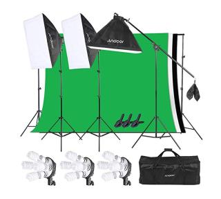 Andoer Softbox Fotostudio-ausrüstung mit 3 Lampen und Hintergrund für 90,99 Euro
