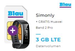 Blau Allnet L Tarif mit Allnet-Flat, SMS-Flat und 3GB Datenvolumen für 8,99 Euro monatlich und Huawei Band 2 Pro gratis dazu