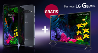 LG G8S ThinQ 128 GB Smartphone mit MD green LTE 8GB Spezial Tarif für 26,99 Euro mtl. und dazu 43 Zoll 4K Smart TV geschenkt!