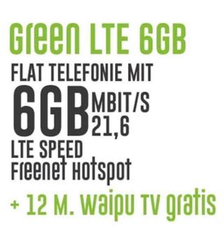6GB MD Vodafone LTE Allnet Flat für 13,99 Euro monatlich inkl. waipu.tv Zugang für 12 Monate Gratis!