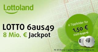 Bei Lottoland als Neukunde 6 Reihen Lotto 6aus49 für nur 1,50 Euro spielen