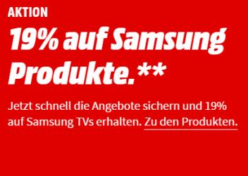 Mehrwertsteuer Aktion bei Media Markt: 19% Rabatt auf ausgewählte Samsung Produkte