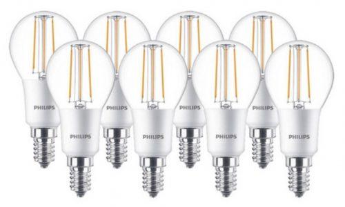 Top! 8x Philips dimmbare LED-Birnen (E14) für nur 14,90 Euro (statt 32,- Euro)