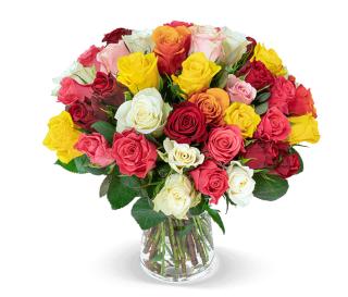 """Blumenstrauß """"Love Me Tender""""mit 40 bunten Rosen für nur 24,98 Euro inkl. Versand"""