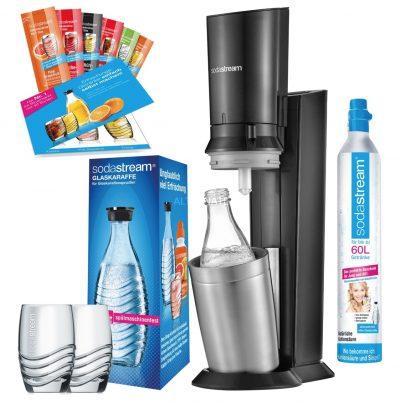 SodaStream CRYSTAL 2.0 Promopack mit 2 Karaffen, 2 Gläsern und Sirup für nur 104,99 Euro inkl. Versand