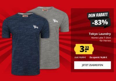 Tokyo Laundry Nome Lake Herren T-Shirts in verschiedenen Farben nur je 7,28 Euro