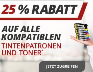 Heute 25% Rabatt auf alle kompatiblen Tintenpatronen bei Druckerzubehoer