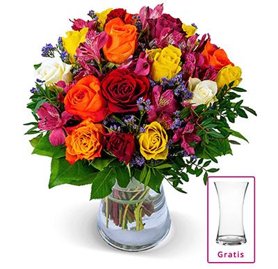 Blumenstrauß Farbwunder mit 40 Blüten und gratis Vase für nur 24,94 Euro inkl. Lieferung