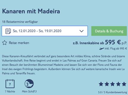 Tui Cruises Angebot der Woche: z.B. 8 Tage Kanaren mit Madeira ab 995,- Euro pro Person