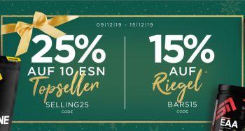 25% Rabatt auf ESN Topseller und 15% Rabatt auf Riegel bei Fitmart