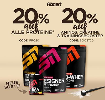 20% auf alle ESN Produkte und 20% auf alle Aminosäuren, Creatine und Booster bei Fitmart