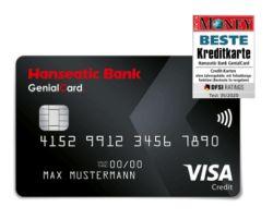 Hanseatic Genialcard (VISA Card) mit 30,- Euro Startguthaben dauerhaft ohne Jahresgebühr!