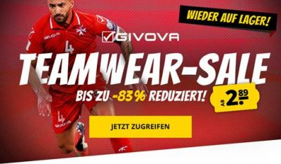 SportSpar: Großer GIVOVA Teamwear-Sale mit bis zu 83% Rabatt – Trikotsets ab 6,66 Euro