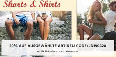 20% Rabatt auf T-Shirts und Shorts bei Jeans-Direct