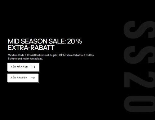 Knaller! 20% Extra-Rabatt im Mid Season Sale auf Outfits, Schuhe und mehr bei Adidas