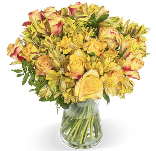 Blumenstrauß mit 15 gelb-orange Rosen & 15 Inkalilien für nur 22,98 Euro inkl. Lieferung