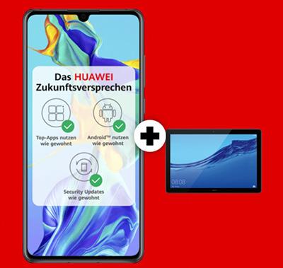 Top! MD Vodafone green mit 10GB Daten für mtl. 26,99 Euro + Huawei P30 & Mediapad T5 für nur 1,- Euro