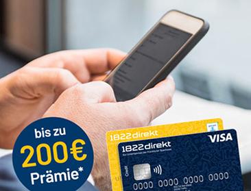 1822direkt Girokonto mit 100,- Euro Startguthaben + 100,- Euro für eine Weiterempfehlung + Kostenlose Kreditkarte