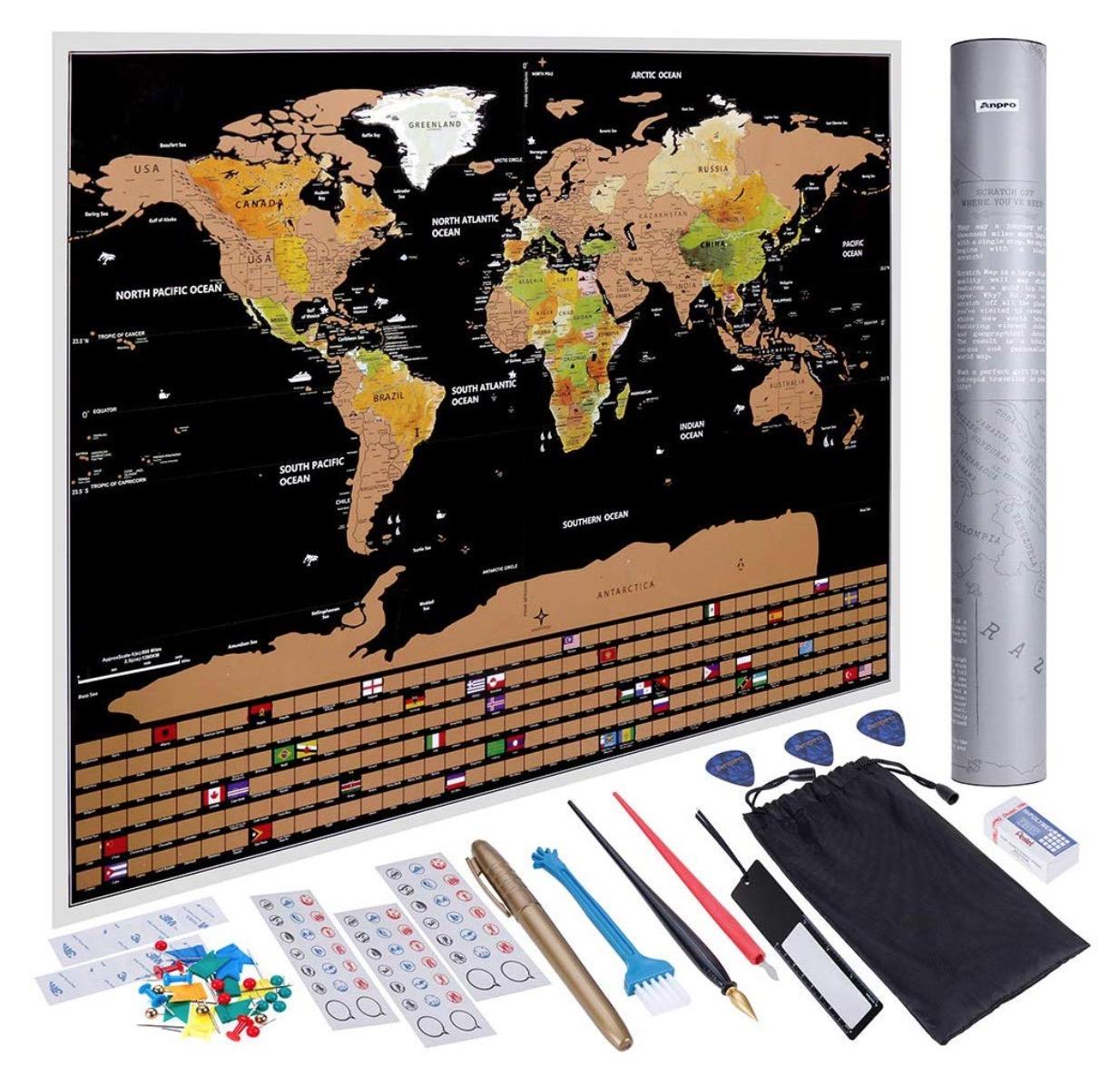 Anpro Weltkarte zum Rubbeln für nur 7,99 Euro