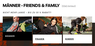 20% Rabattgutschein auf über 5.500 Family & Friends Produkte im Adidas Onlineshop
