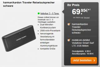 Mobilcom-debitel Vodafone Smart Surf LTE 2GB Aktionstarif (50 Min, 50 SMS, 2GB LTE) + harman/kardon Traveler für 4,99€ mtl. + einmalig 69,95€