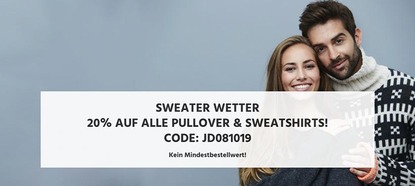 20% Rabatt auf alle Pullover und Sweatshirts bei Jeans Direct (ohne MBW)