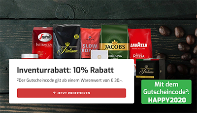 10% Rabatt auf Alles bei Kaffeevorteil – auch auf reduzierte Ware (MBW: 50,- Euro)