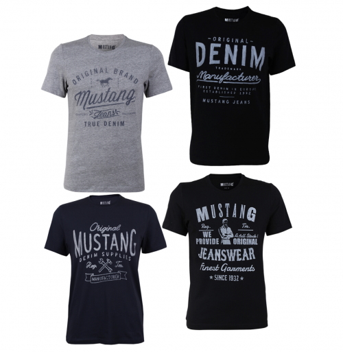 4er-Pack Mustang Herren T-Shirts mit Frontprint und Rundhalsausschnitt für nur 29,71 Euro