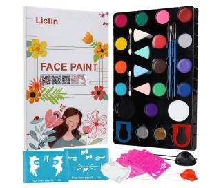 Perfekt für Kindergeburtstage: Lictin Kinderschminken Set mit 16 Farben und 12 Schablonen für 9,59 Euro