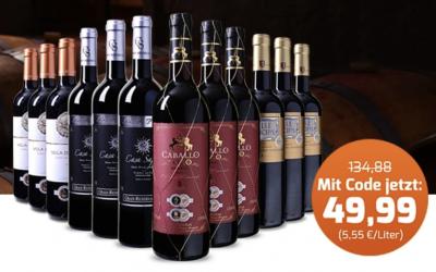 Weinpaket mit 4 spanischen, ausgezeichneten Spitzenweinen (12 Flaschen) für nur 49,88 Euro