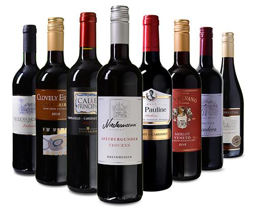 Wein Probierpaket mit 8 verschiedenen Rotweinen für nur 39,99 Euro inkl. Versand