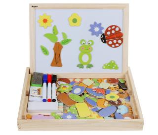 110-teiliges magnetisches Anpro Holzpuzzle mit doppelseitiger Tafel für 6,49 Euro