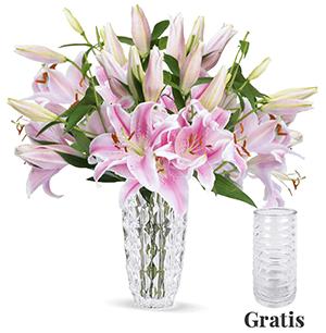 Blumenstrauß mit 15 pinken Lilien mit XXL Blüten für nur 22,98 Euro + gratis Vase