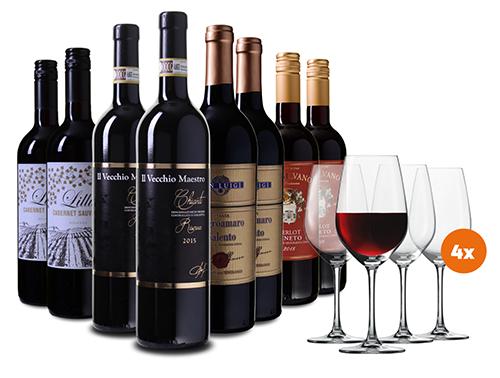 Wein Probierpaket mit 8 Falschen (4 Sorten) Rotwein aus Italien + 4 Gläser für nur 49,99 Euro