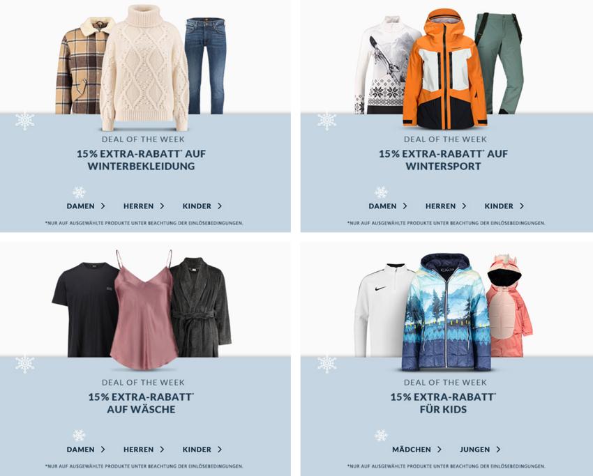 Engelhorn Weekly Deal mit 15% Rabatt auf Winterkleidung + 5,- Euro Newslettergutschein